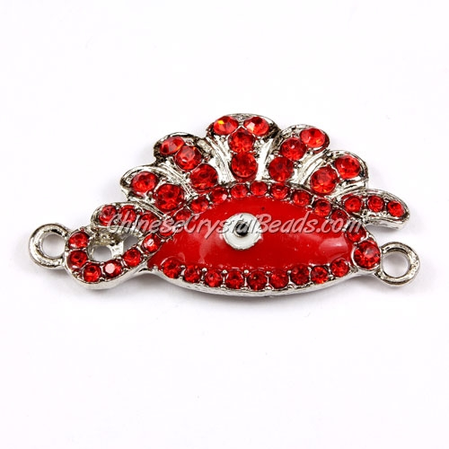 Pave accessories, eye, 23x45mm, silver, red, sold 1 pcs