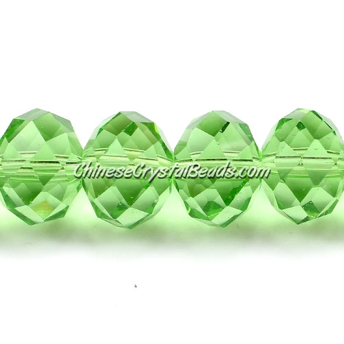 Chinese Crystal Rondelle Bead Strand, Lime green, 10x14mm ,20 beads