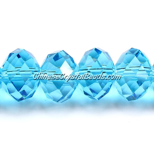 Chinese Crystal Rondelle Strand, Aqua, 10x14mm, 20 beads