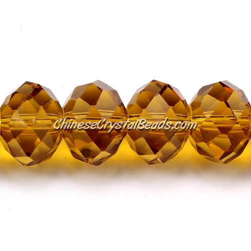 Chinese Crystal Rondelle Strand, Amber, 10x14mm, 20 beads