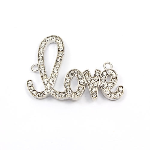 "Rhinestone Pave Beads,""love"" antiqued silver-plated brass, 32x42mm, clear rhinestone, Sold individually."
