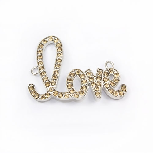 "Rhinestone Pave Beads, ""love"", antiqued silver-plated brass, 32x42mm, amber rhinestone, Sold individually."