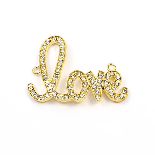 "Rhinestone Pave Beads, ""love"" Gold-plated brass, 32x42mm, clear rhinestone, Sold individually."