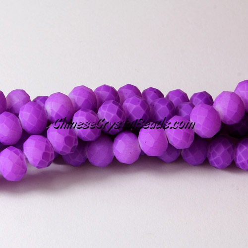 chinese crystal rondelle beads, 6x8mm, plated rubber, colorful purple, about 72 beads