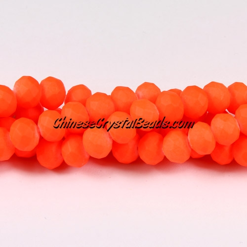 chinese crystal rondelle beads, 6x8mm, plated rubber, colorful orange,about 72 beads