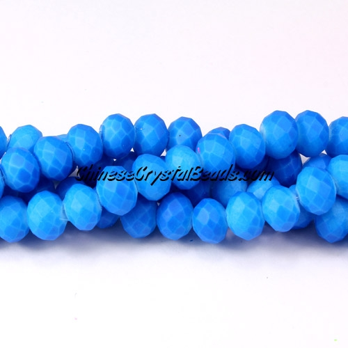 chinese crystal rondelle beads, 6x8mm, plated rubber, colorful capri blue, about 72 beads