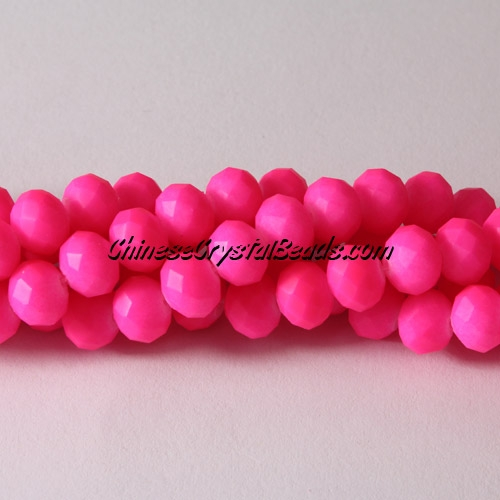 chinese crystal rondelle beads, 6x8mm, plated rubber, colorful fuchsia, about 72 beads