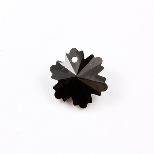10Pcs crystal pendant snowflake, 1 hole 1mm, 12x14mm, black