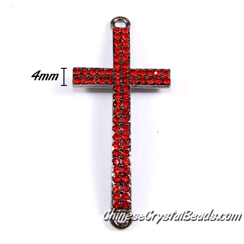pave cross pendant, 22x50mm, hole: 2mm, plated gunmetal, red rhinestone, 1pcs