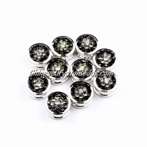 Pave button beads, black flower, silver-plated copper, 10mm , Sold per pkg of 10 pcs