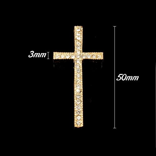 Pave cross pendant, rose gold-plated, 23x50mm, hole: 1.5mm, 1pcs