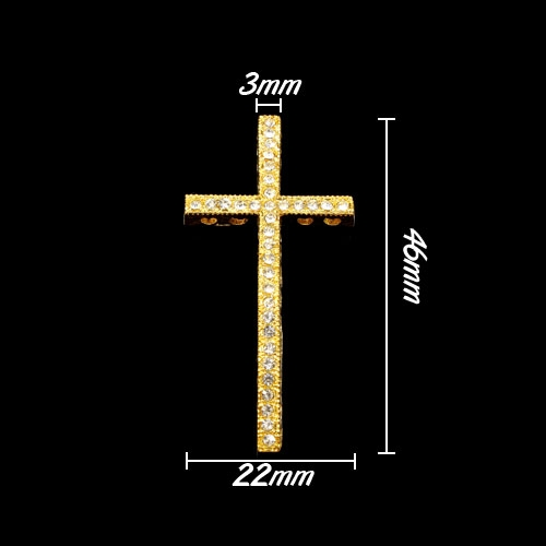 Pave cross, gold plated, 22x46mm, hole: 1.5mm, 1pcs