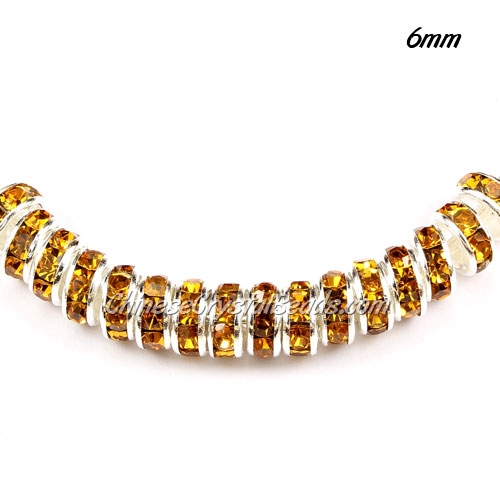 6mm Rondelle spacer, Amber Rhinestone, hole 1mm, 50 piece
