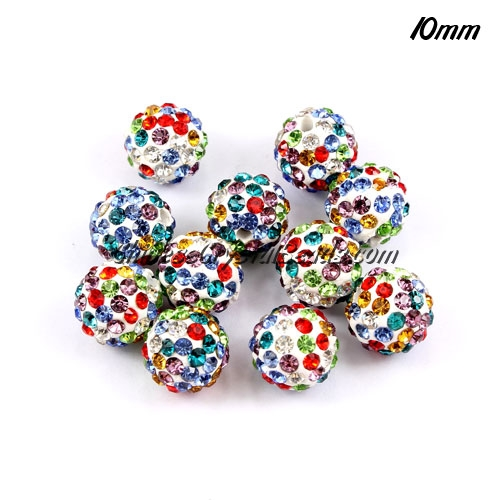 50Pcs Pave clay disco beads, mix color, hole: 1.5mm