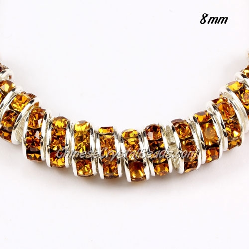 8mm Rondelle spacer, silver plated, Amber (crystal Rhinestone), hole 1.5mm, 50 piece