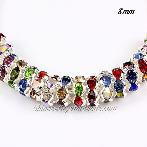 8mm Rondelle spacer, waviness, silver plated, mix color(Crystal Rhinestone), hole 1.5mm, 50 piece