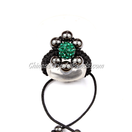 Pave flower ring, 6mm hematite beads and 8mm pave beads, emerald