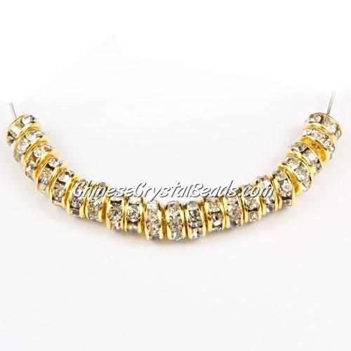 5mm crystal rhinestone rondelle spacers, gold-plated, clear rhinestone, 50pcs