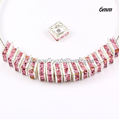 "6mm crystal rhinestone ""square"" rondelle spacers, silver-plated, pink rhinestone, 20pcs"