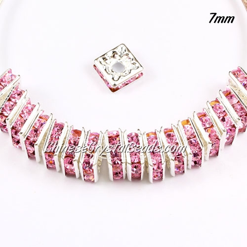 "7mm crystal rhinestone ""square"" rondelle spacers, silver-plated, pink rhinestone, 20pcs"