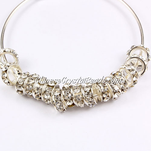 "7mm crystal rhinestone rondelle spacers, ""silver-plated brass"", 4mm hole, pink rhinestone, sold 1pcs"