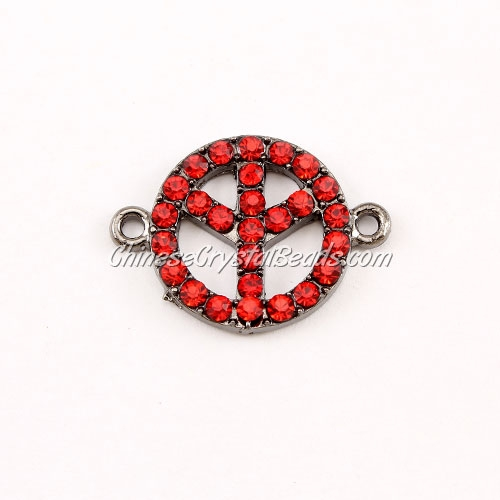 Peace Sign, pave Diamond pendant,18mm, hole 1.5mm, gunmetal plated, red tree