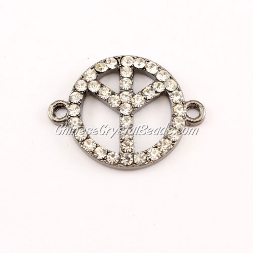 Peace Sign, pave Diamond pendant,20mm, hole 2mm, gunmetal plated, clear diamond
