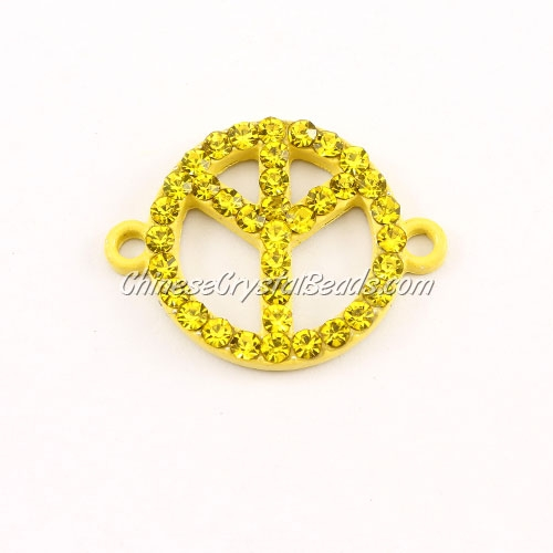 Peace Sign, pave Diamond pendant,20mm, hole 2mm, yellow