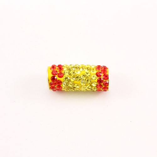 pave clay tube, 9x22mm, 4mm hole, Spain flag, 1pcs