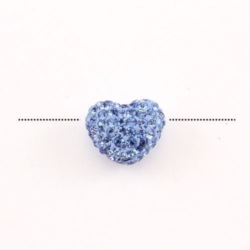 Pave heart beads, clay, 13x15mm, 1.5mm hole, light sapphire, 1pcs