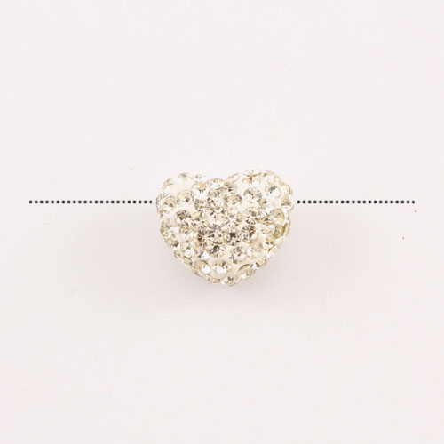 Pave heart beads, clay, 13x15mm, 1.5mm hole, white 2, 1pcs