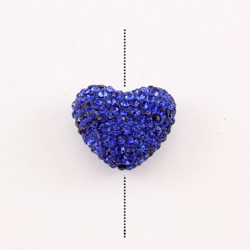 Pave heart beads, clay, 17x20mm, 1.5mm hole, Sapphire, 1pcs