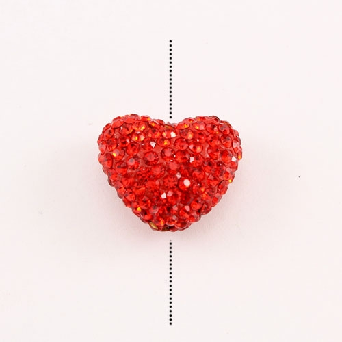 Pave heart beads, clay, 17x20mm, 1.5mm hole, Red, 1pcs