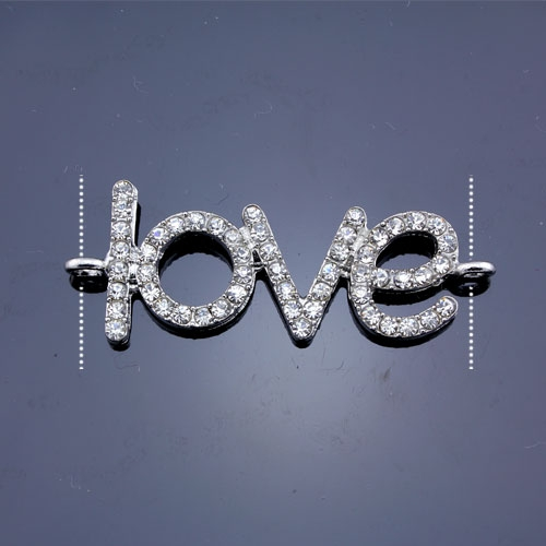 Pave love heand pendant, antiqued silver-plated, 18x46mm, clear rhinestone, Sold individually.