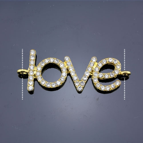 Pave love heand pendant, gold plated, 18x46mm, clear rhinestone, Sold individually.