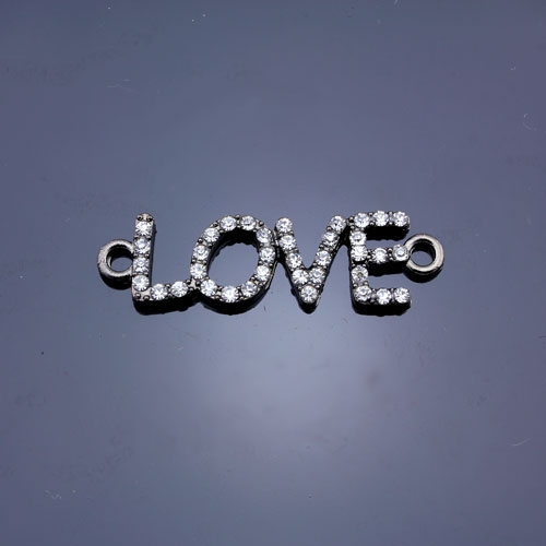 Pave love heand pendant, gunmetal plated, 11x38mm, clear rhinestone, Sold individually.