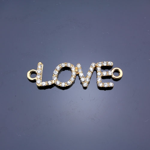 Pave love heand pendant, gold plated, 11x38mm, clear rhinestone, Sold individually.