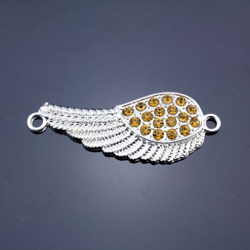 Pave accessories, angel wings, 18x46mm, silver-plated, amber rhinestone, sold 1 pcs