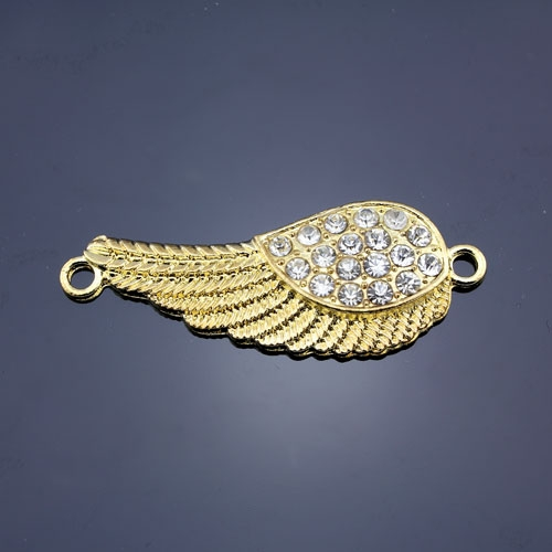 Pave accessories, angel wings, 18x46mm, gold-plated, clear rhinestone, sold 1 pcs