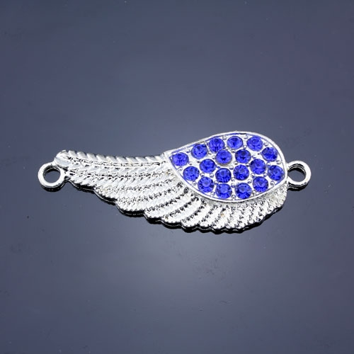 Pave accessories, angel wings, 18x46mm, silver-plated, sapphire rhinestone, sold 1 pcs