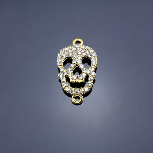 Pave Skull Pendant, hole 2mm, 15x27mm, gold plated