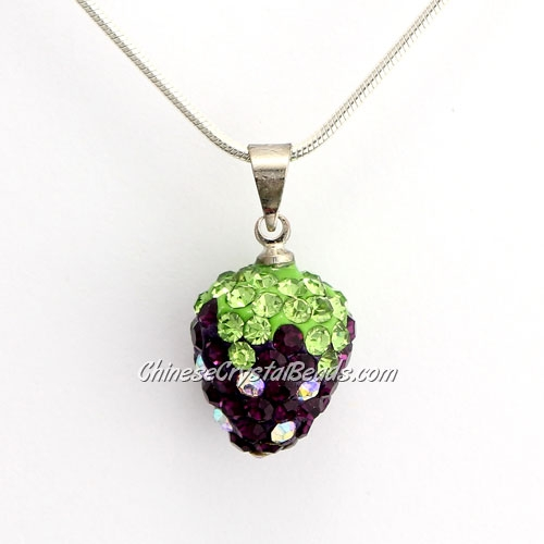 Pave Disco strawberry Pendant, Violet, clay, crystal Rhinestone, 12x14mm, sold 1 pcs