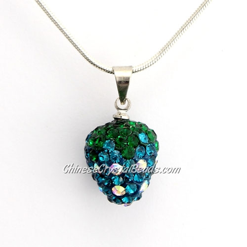 Pave Disco strawberry Pendant, indicolite, clay, crystal Rhinestone, 12x14mm, sold 1 pcs