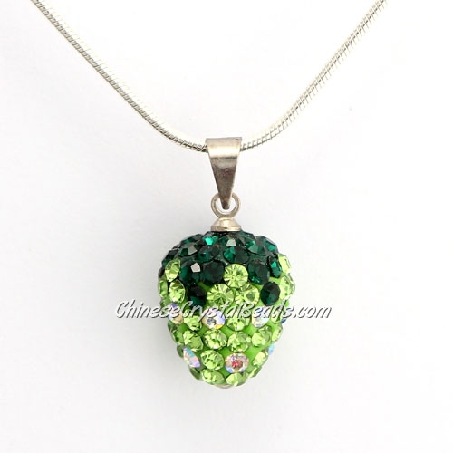 Pave Disco strawberry Pendant, green, clay, crystal Rhinestone, 12x14mm, sold 1 pcs