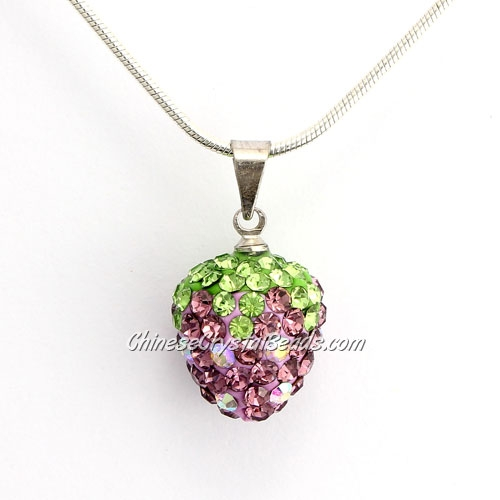 pave strawberry pendant, amethyst, clay, crystal Rhinestone, 12x14mm, sold 1 pcs