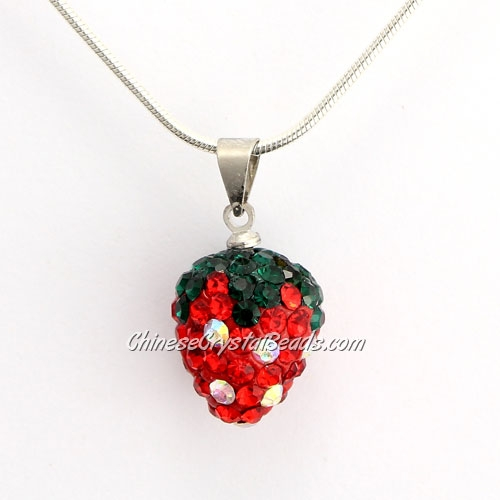 Pave Disco strawberry Pendant, Red, clay, crystal Rhinestone, 12x15mm, sold 1 pcs