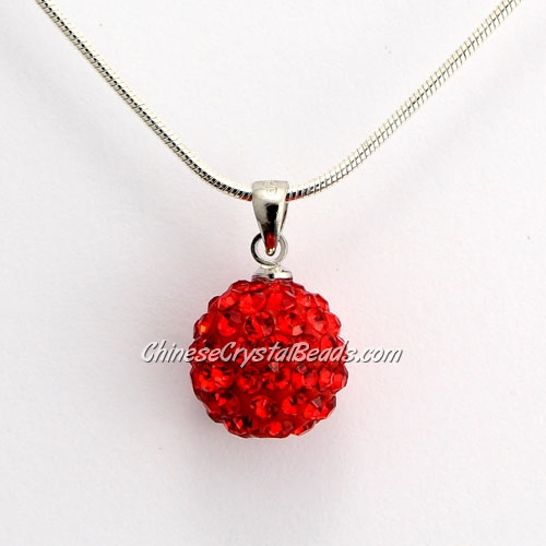 Pave Disco Ball Pendant, 12mm, red, sold 1 pcs