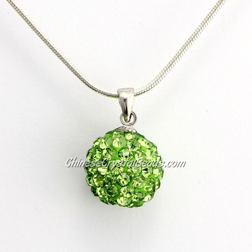 Pave Disco Ball Pendant, 12mm, green, sold 1 pcs