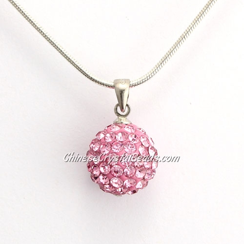 Pave Disco Ball Pendant, 12mm, pink, sold 1 pcs