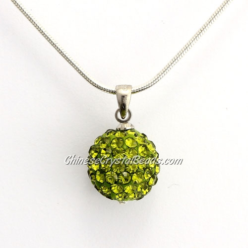 Pave Disco Ball Pendant, 12mm, olivine, sold 1 pcs